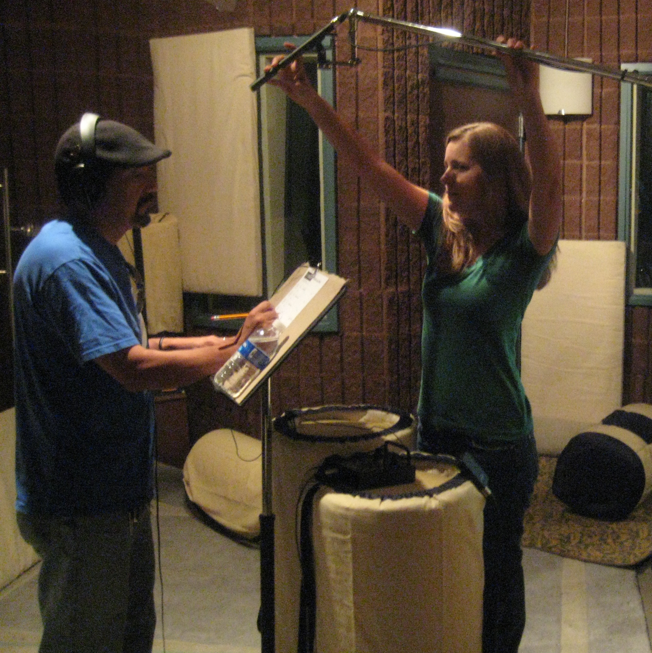 Kat miking Steven Michael Quezada for an ADR session